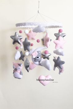 Baby Crib Mobile, Baby Cribs, Newborn Toys, Baby Toys, Felt Mobile, Flower Nursery, Hanging Mobile, Star Baby Showers, Pregnancy Gifts