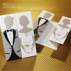 Bride Groom Gown Tuxedo Style Wedding Invitation Bridal Party Cards Online with $1.18/Piece on Okbuyelec's Store | DHgate.com
