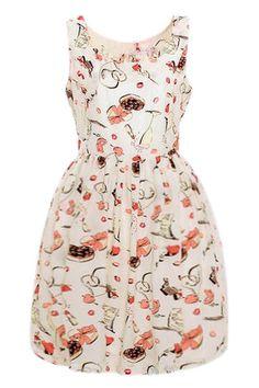 ノースリーブ フリルパフスリーブ ドレス