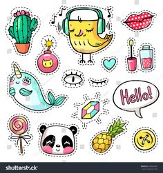 Fashion vector patch badges with animals, characters and things. Hand-drawn stickers, pins in cartoon 80s-90s comics style. Set with narwhal, panda, pineapple etc. Hello in text bubble. Part 4