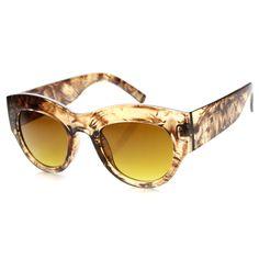 Women's Transparent Palm Tree Print Cat Eye Sunglasses 9860