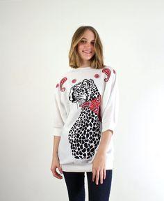 Cat Blouse  Leopard Print Shirt by jessjamesjake on Etsy, $35.00