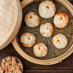 Tofu Bao (V): Seasoned with my friend's awesome homemade hot sauce & Thai chillies, toasted sesame seeds. Asian ginger-garlic-green onion combo always great. Fun to make too!