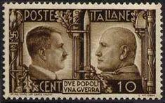 1941 - Fratellanza d'armi italo-tedesca - Ritratti di Mussolini e Hitler