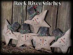 Primitive Christmas Snowmen Star Ornies fillers