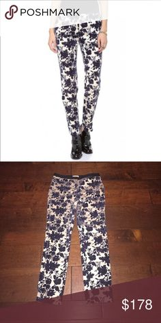 """Tory Burch Dayton Pants Size 6 style 32131253 Tory Burch Dayton Pants Size 6  A flocked floral pattern lends beauty and depth to these 4-pocket, straight-leg pants. Satin waistband. Hook-and-eye closure and zip fly. Excellent condition, no flaws or visible signs of wear.  Waist measures 16"""" across front. Hips measure 17"""" across front. 10"""" rise. 29"""" inseam.  Fabric: 98% cotton.  2% spandex. Tory Burch Pants Straight Leg"""