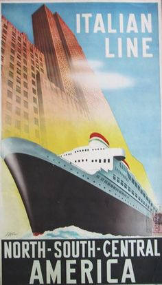 Italian Line America by Filippo Romoli - Vintage Art Deco Posters Gallery at ...  idesirevintageposters.com