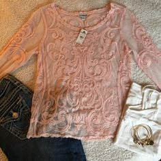 NEW Express pink lace top SZ small New with tags. Express pink lace top size small Express Tops Blouses