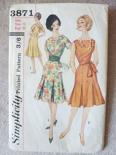 VINTAGE SIMPLICITY PATTERN # 3871..MISSES ONE-PIECE DRESS..SIZE 12..3/6d in Crafts, Sewing & Fabric, Sewing | eBay