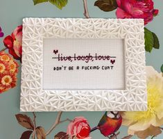 Excited to share the latest addition to my #etsy shop: MATURE ornate frame, 'live, laugh love, alternative gift, handmade, rude cross stitch, funny crossstitch, housewarming gift, sweary gift, #art #snarkygift #livelaughlove #funnycrossstitch #swearycrossstitch #funnygift #unusualgift #cunt #personlizedgift