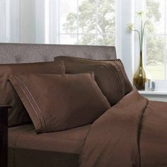 1500 Thread Count Egyptian Quality Microfiber Deep Pocket Bedroom Sheet Set, Brown
