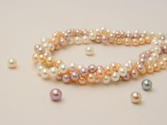 Metallic Freshwater Pearl Necklaces - Classic Colors are Peach, Lavender and White