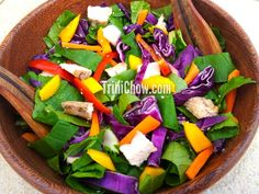 Tropical Salad made with patchoi, mango, carrots, cabbage, red peppers and leftover chicken (we tossed it with Crate Foods' Balsamic Vinaigrette tableside) - courtesy trinichow.com