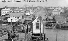Northern view of Lonsdale Avenue, North Van, from the ferry dock. North Vancouver, Vancouver Island, Most Beautiful Cities, Back In The Day, Pacific Northwest, Historical Photos, British Columbia, Old Photos
