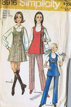 Simplicity Pattern  Pattern Number 8916  Copyright: 1970's    Vintage 70's Misses mini-Jumper Tunic and Pants Pattern