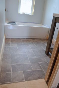 Tile laminate is perfect for kitchens or bathrooms faus innovation midnight slate tile laminate for Sheet vinyl flooring bathroom
