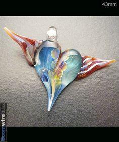 Glass lampwork focal handmade winged heart pendant