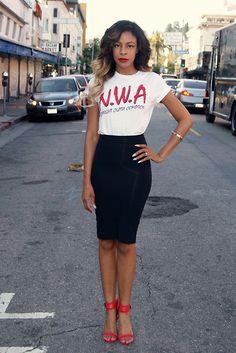 Black Tube Skirt + White, Black & White Tee + Red Heels & Red Lips = Nigga with an Attitude!!!