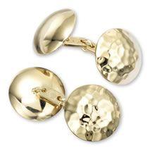 Gold plate hammered chain cufflinks - Charles Tyrwhitt