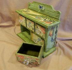 Jewelry box treasure box altered art mixed by 3SisterzJewelry, $50.00