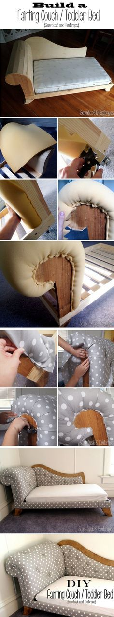 how cute is this!! Build and upholster a fainting couch / toddler bed. Detailed step-by-step instructions! {Sawdust and Embryos}