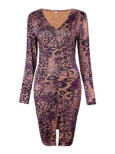 Sale 10% (17.87$) - Sexy Leopard V Neck Split Women Bodycon Dress