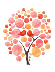 LIFE with BIRD modern art print tree pink orange baby girl nursery teen wall archival watercolor painting polkadots dots bubbles - lbv007. $20.00, via Etsy.
