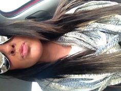 """Dark brown hair with highlights underneath to give it an """"ombré"""" look!"""