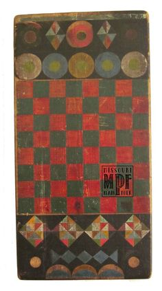 Unusual border on checkerboard - beautiful! Antique Toys, Vintage Toys, Vintage Board Games, Painted Boards, Old Games, Barn Quilts, Rug Hooking, Game Boards, Paint Designs