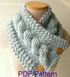 WindyCityKnits: Knit Cable Cowl Scarf Pattern Pdf