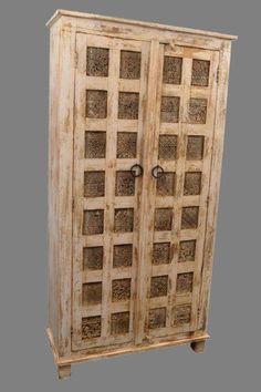 White wash kast met stempels uit India Room Divider, Decor, Furniture, Home, Interior, Storage, Wine Rack, Home Decor, Room
