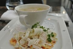 artischockensuppe mit lardo, the guesthouse, andrea pickl Food And Drink, Soup, Tableware, Ethnic Recipes, Kitchen, Dinnerware, Cooking, Tablewares, Kitchens