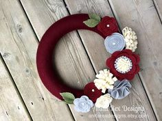 Christmas Yarn Wreath Ruby Burgundy Wreath Felt by AnitaRexDesigns