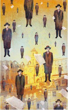 Fernando Pessoa - illustrazione di Ale per La Stampa-Tuttolibri