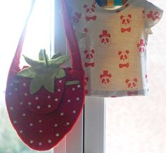 Strawberry felted bag
