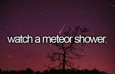 Watch a meteor shower - Did this in 2013 - it was amazing! The sky was so clear, I could see a depth when I looked up that made me feel like the stars were right on top of me!