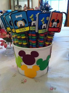 Mickey Mouse, Pluto and Goofy party favors. Mickey Mouse Party Favors, Fiesta Mickey Mouse, Mickey Mouse Clubhouse Birthday Party, Mickey Mouse Parties, Mickey Birthday, Mickey Party, Mickey Mouse And Friends, 3rd Birthday Parties, 2nd Birthday