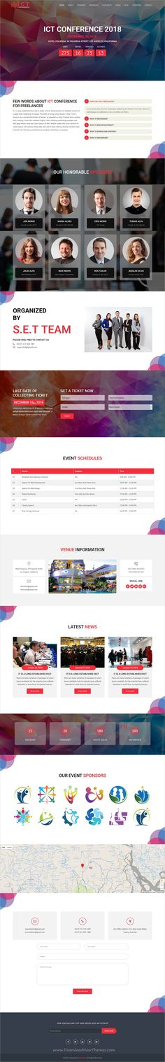 ICT is clean and modern design 6in1 responsive HTML #bootstrap template for #conference, #event, meeting, #seminar, expo and venue related #website to live preview & download click on image or Visit