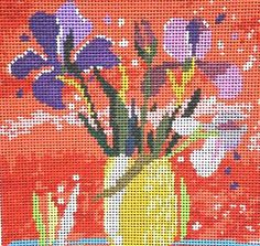 Flowers Irises in Yellow Vase Needlepoint