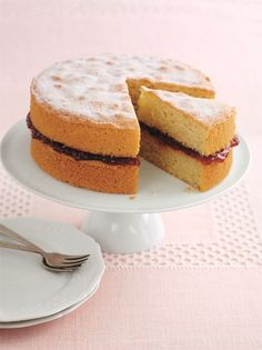 Mary Berry's Victoria Sandwich Cake ~ the classic British sponge filled with fruit jam and coated with sugar   recipe from the cookbook 'Mary Berry's Cookery Course'   via The Happy Foodie