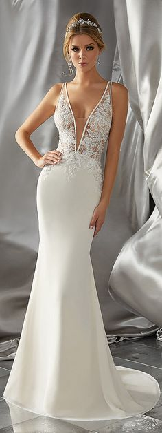 Amazing Tulle & Chiffon V-neck Neckline See-through Mermaid Wedding Dresses With Beaded Lace Appliques