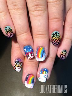 Lisa Frank Nail art by LookAtHerNails