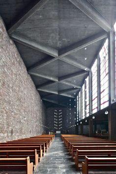 design architecture church interiors timber Wood concrete brick Germany rudolf schwarz