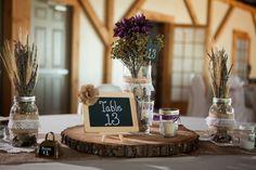 Rustic purple wedding decor