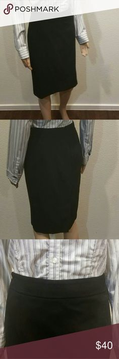 Ann Taylor Curvy Black Pencil Skirt Those of us without a straight frame appreciate the brands that make clothes for us! Ann Taylor's line of skirts for women with smaller waists is a Godsend, ensuring we don't have to spend all day straightening our skirts at work - or paying to have the waist taken in. This skirt fits close without being tight and is in a neutral black that goes with everything. Banded waist, center back zipper, and vent in the middle of the hem for ease of movement. Ann…