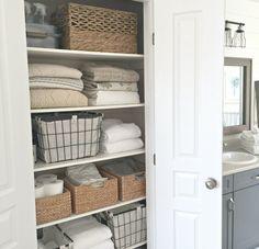 A Quick And Easy Linen Closet Refresh – Willow Bloom Home - Modern Linen Closet Organization, Closet Storage, Bathroom Organization, Laundry Storage, Bathroom Closet, Small Bathroom, Bathroom Ideas, Bathroom Modern, Wood Bathroom