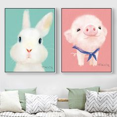 Cute Animal Canvas Painting Small Chicken Painting for Kids' Room White Rabbit Bear Prints Home Decoration no Frame Pig Poster