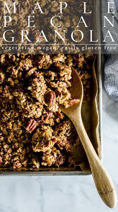 Maple Pecan Granola is hearty, satisfying and naturally sweetened. So good in lunch boxes, on road trips, or breakfast grab-n'-go! It's a pantry staple. This recipe is vegetarian, vegan + easily gluten free. #granola #pecangranola #maplepecangranola #glutenfree #vegetarian | vanillaandbean.com @vanillaandbean Healthy Breakfast Recipes, Vegetarian Recipes, Whole Grain Pancakes, Vegetarian Lifestyle, Maple Pecan, Egg Dish, Lunch Boxes, Granola Bars, Bean Recipes