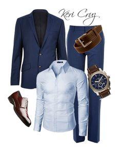 """Men's Classic Work Style"" by keri-cruz on Polyvore featuring River Island, Doublju, Wrangler, FOSSIL, men's fashion and menswear"