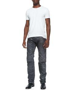 3D Coated Denim Moto Pants, Charcoal
